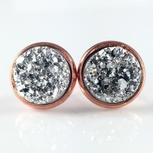 Silver faux druzy rose gold earrings