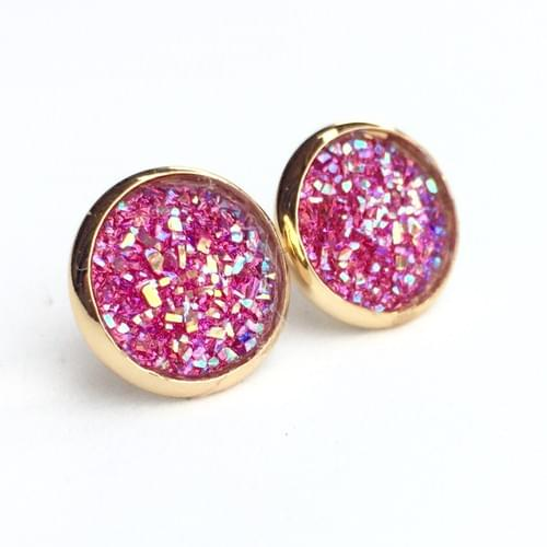 Flat sparkly hot pink gold earrings