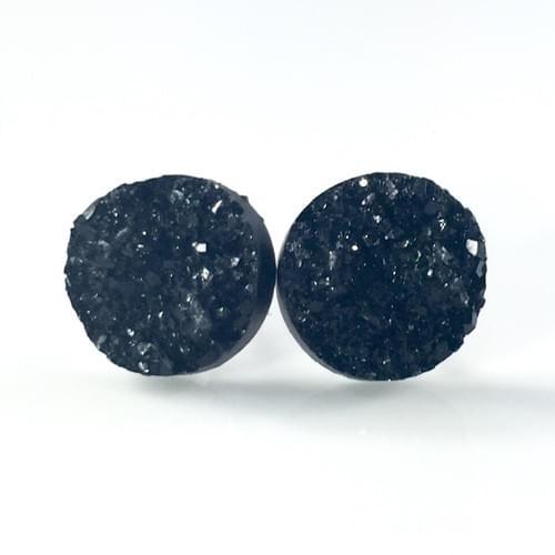 Chunky Black faux druzy post earrings