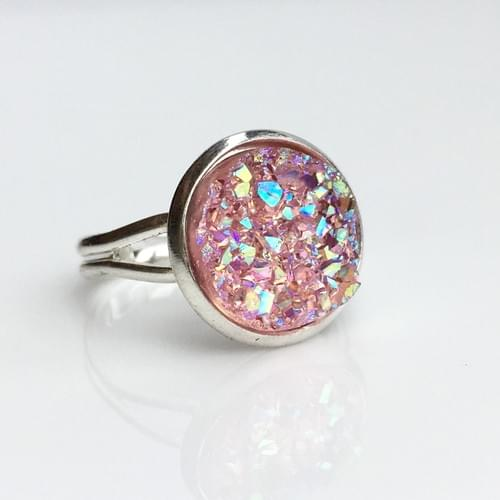 Iridescent Pink faux druzy silver ring