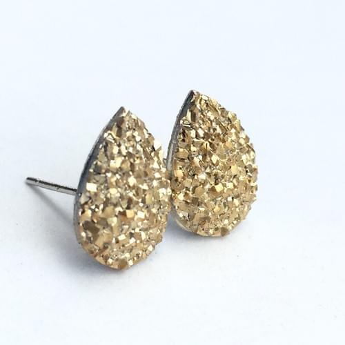 Flat rocky gold faux druzy teardrop earrings