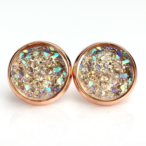 Champagne crystal faux druze rose gold earrings