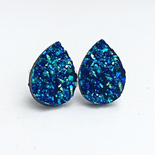 Iridescent Blue faux druzy teardrop post earrings