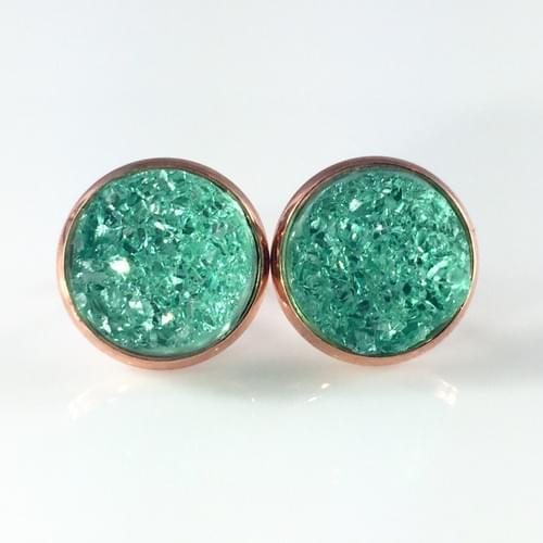 Mint crystal faux druzy rose gold earrings