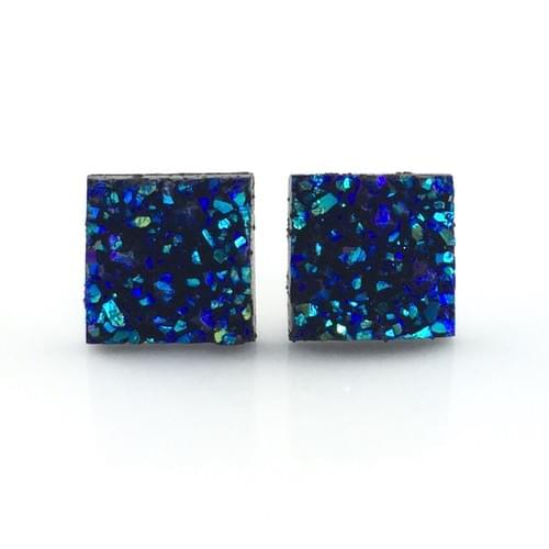 Blue iridescent faux druzy square earrings