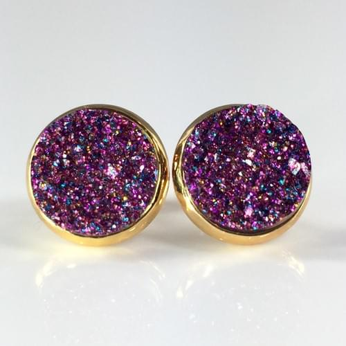 Magenta glitter faux druzy gold earrings