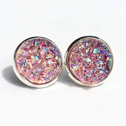 Iridescent pink faux druzy silver earrings