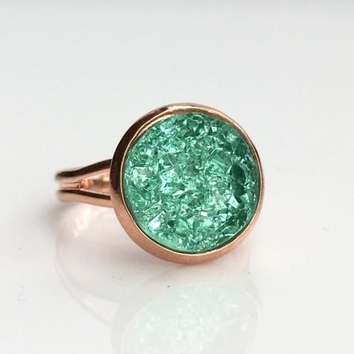 Mint faux druzy rose gold ring