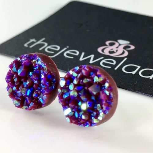 Chocolate maroon faux druzy post earrings