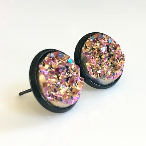 Copper Magenta faux druzy black earrings