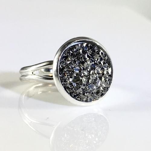 Flat rocky grey faux druzy silver ring