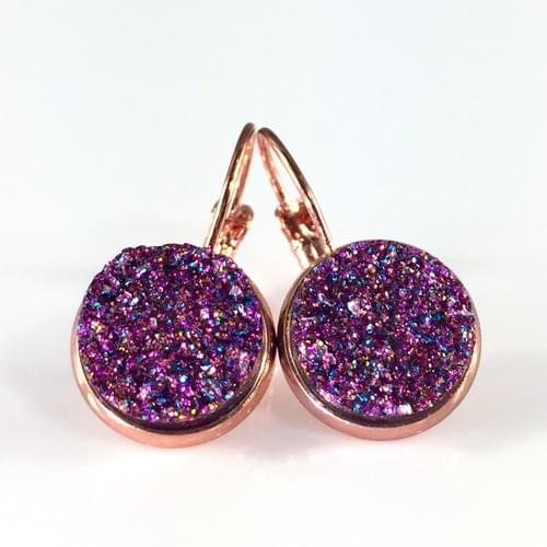 Magenta glitter faux druzy rose gold earrings