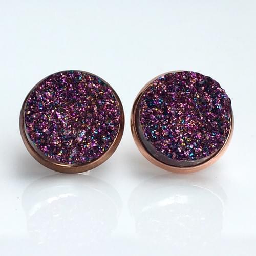 Magenta Glitter faux druzy rose gold earrings