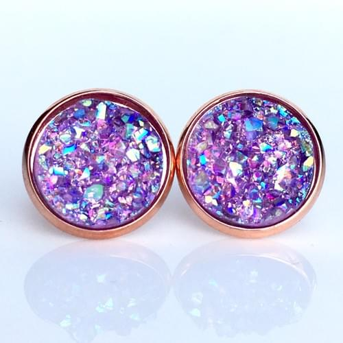 Lavender iridescent faux druzy rose gold earrings