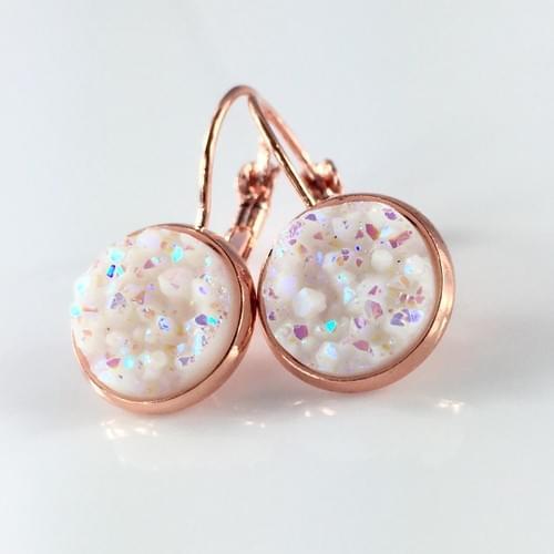 Opal White faux druzy rose gold earrings