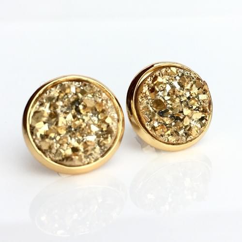 Chunky Gold Druzy Earrings