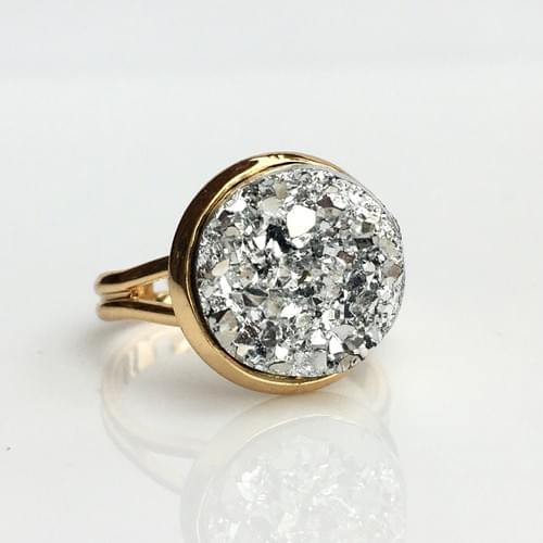 Chunky silver faux druzy gold ring