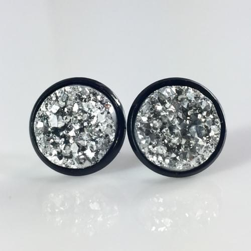 Chunky Silver faux druzy black earrings