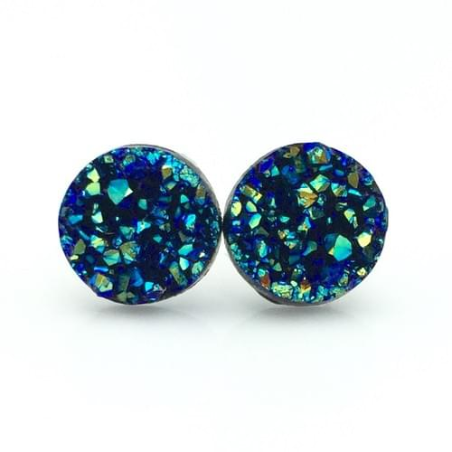 Ocean Blue faux druzy post earrings