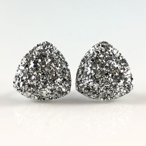 Grey faux druzy triangle post earrings
