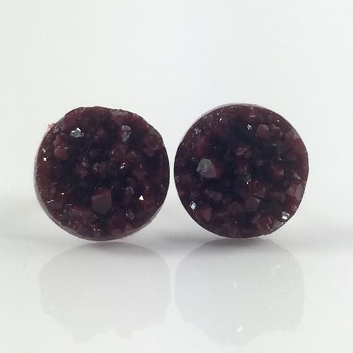 Maroon faux druzy post earrings