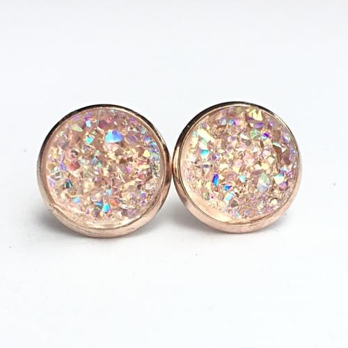 Iridescent crystal faux druzy rose gold earrings