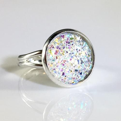 Flat clear sparkly silver ring