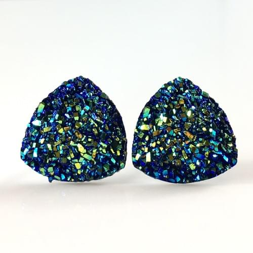 Blue iridescent triangle post earrings