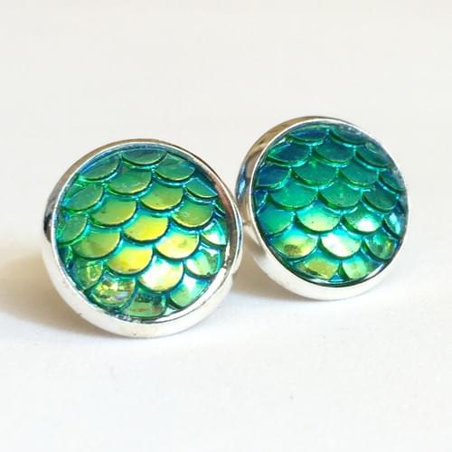 Iridescent Green mermaid scale earrings