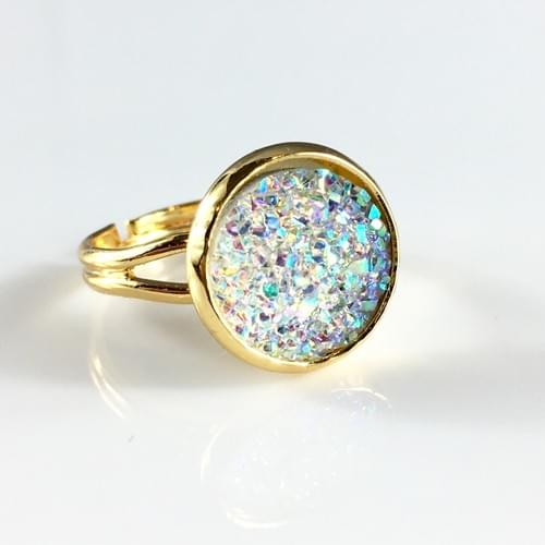 Clear sparkly gold ring