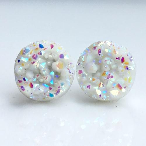 Opal White faux druzy post earrings