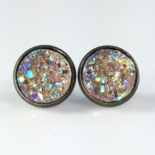 Peach iridescent faux druzy bronze earrings