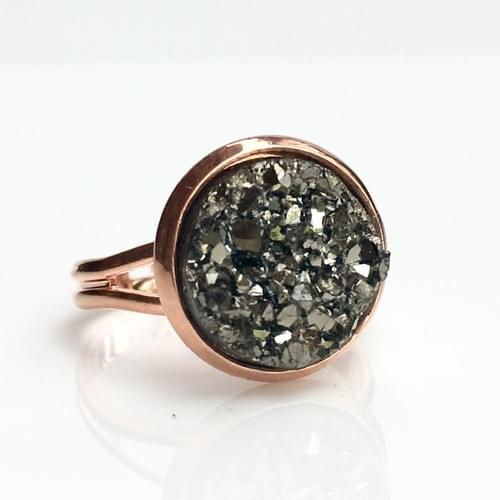 Chunky grey faux druzy rose gold ring