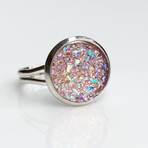 Flat sparkly pink silver ring