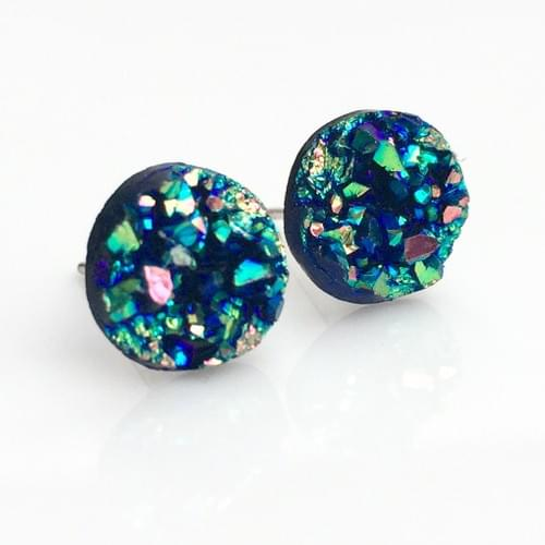 Small Green Rainbow faux druzy post earrings