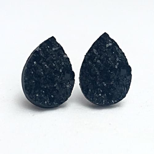 Black faux druzy teardrop post earrings