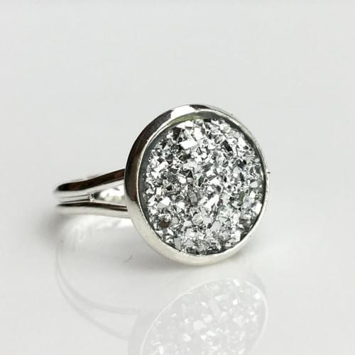 Flat rocky silver faux druzy silver ring