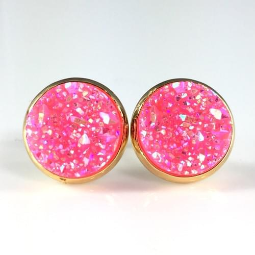 Bright pink faux titanium druzy earrings