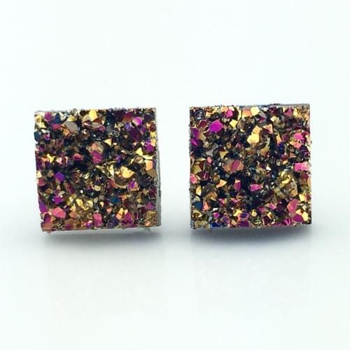 Magenta copper faux druzy square earrings