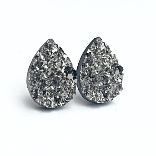 Grey faux druzy teardrop post earrings