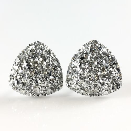 Silver faux druzy triangle earrings