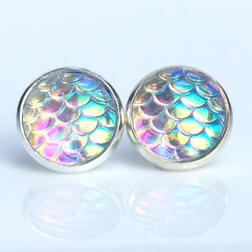 Iridescent clear mermaid scale earrings