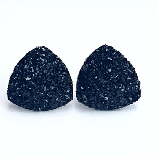 Black faux druzy triangle post earrings