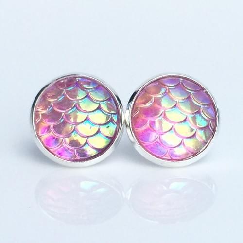 Light pink mermaid scale earrings