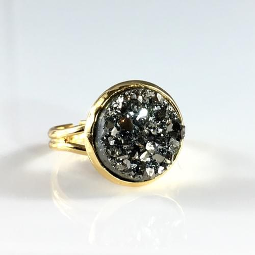 Chunky Grey faux druzy gold ring
