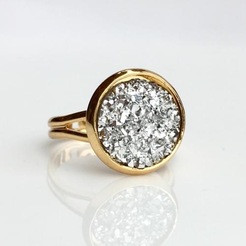 Flat rocky silver faux druzy gold ring