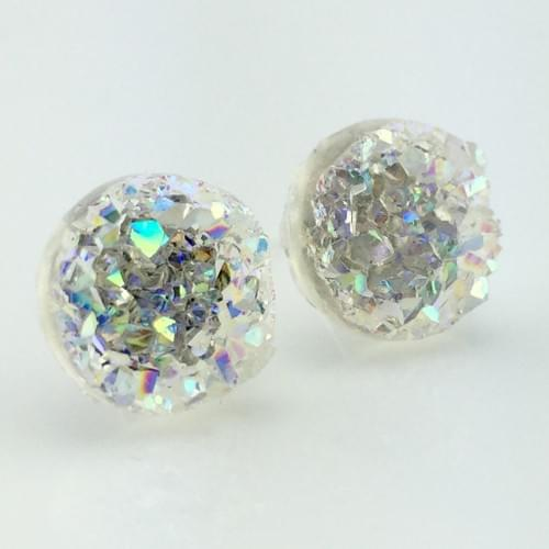 Crystal Rainbow faux druzy post earrings