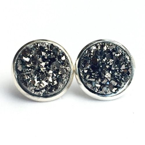 Grey faux druzy silver earrings