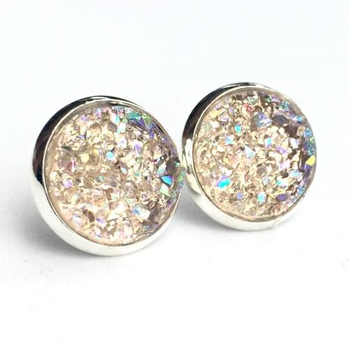 Light Champagne crystal faux druzy silver earrings