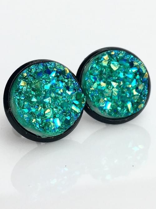 Teal Green faux druzy black earrings